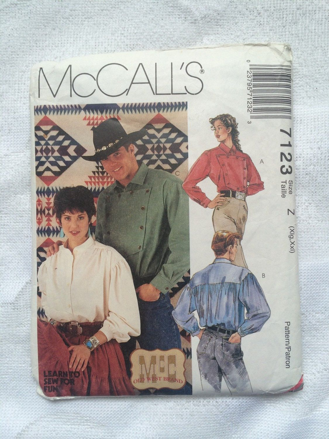 Mens and misses western shirt loose fitting cowboy shirt 7123 mens and misses western shirt loose fitting cowboy shirt 7123 mccalls sewing pattern x jeuxipadfo Images