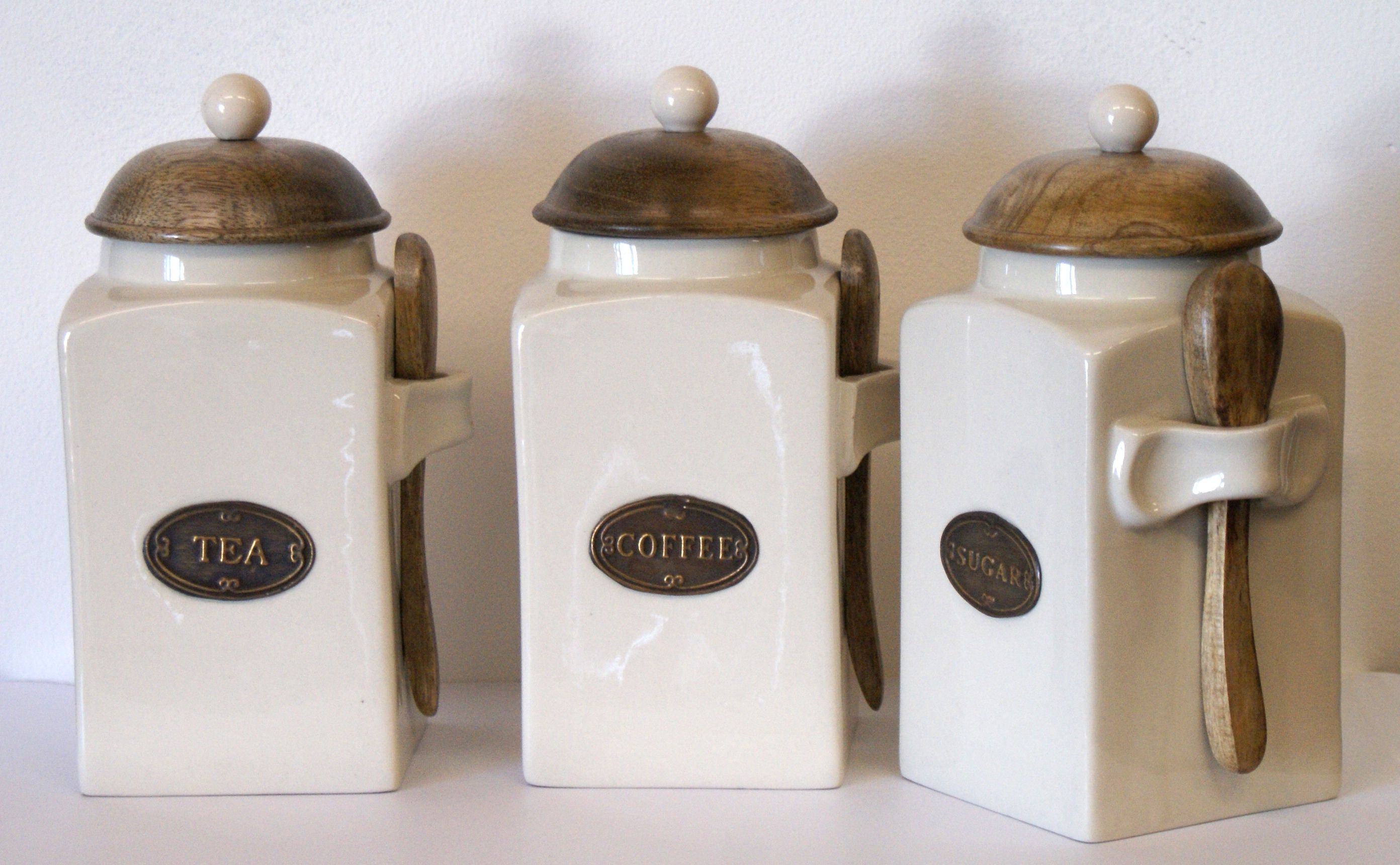 Country Kitchen Tea Coffee And Sugar Canisters Each With A Wooden Spoon Lid Ceramic Handle Stamped Metal Name Plaque
