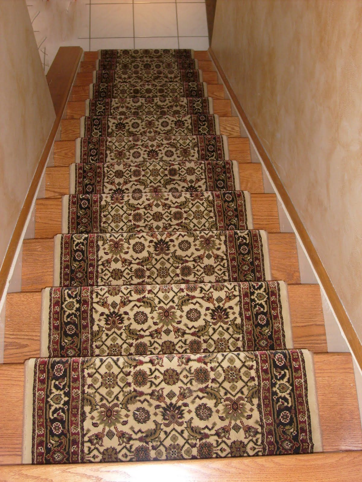Designer Oriental Floral Carpet Runner For Stairs On Wooden Foot Stairs As  Well As Gray Wall