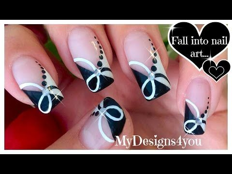 Quick black and white nail art monochrome french ♥ черно белый дизайн ногтей