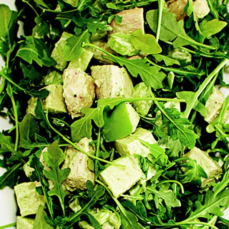 Parmesan Chicken, Apple And Arugula Salad Tossed In A