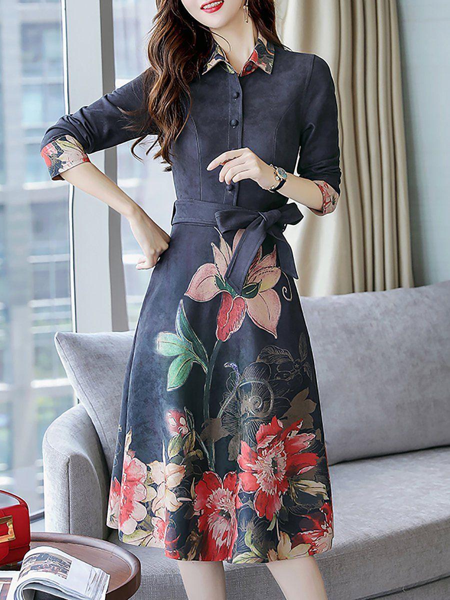 A Line Daytime Elegant 3 4 Sleeve Floral Print Midi Dress Casual Cocktail Dress Midi Dress Party Dresses [ 1200 x 900 Pixel ]
