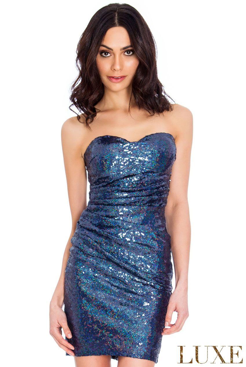 Schulterfreies Luxus Abend / Partykleid in Navy mit glänzenden Pailletten