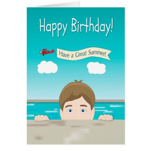 Boy Peeking From A Swimming Pool For Birthday Card Zazzle Ca Birthday Cards Birthday Greeting Cards Cards