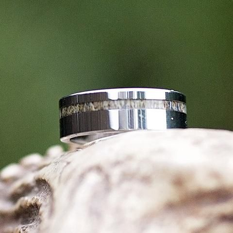 SHIPS IN 3-5 DAYS - Polished Grey Tungsten Thin Strip Antler Ring - Color - Natural Grain