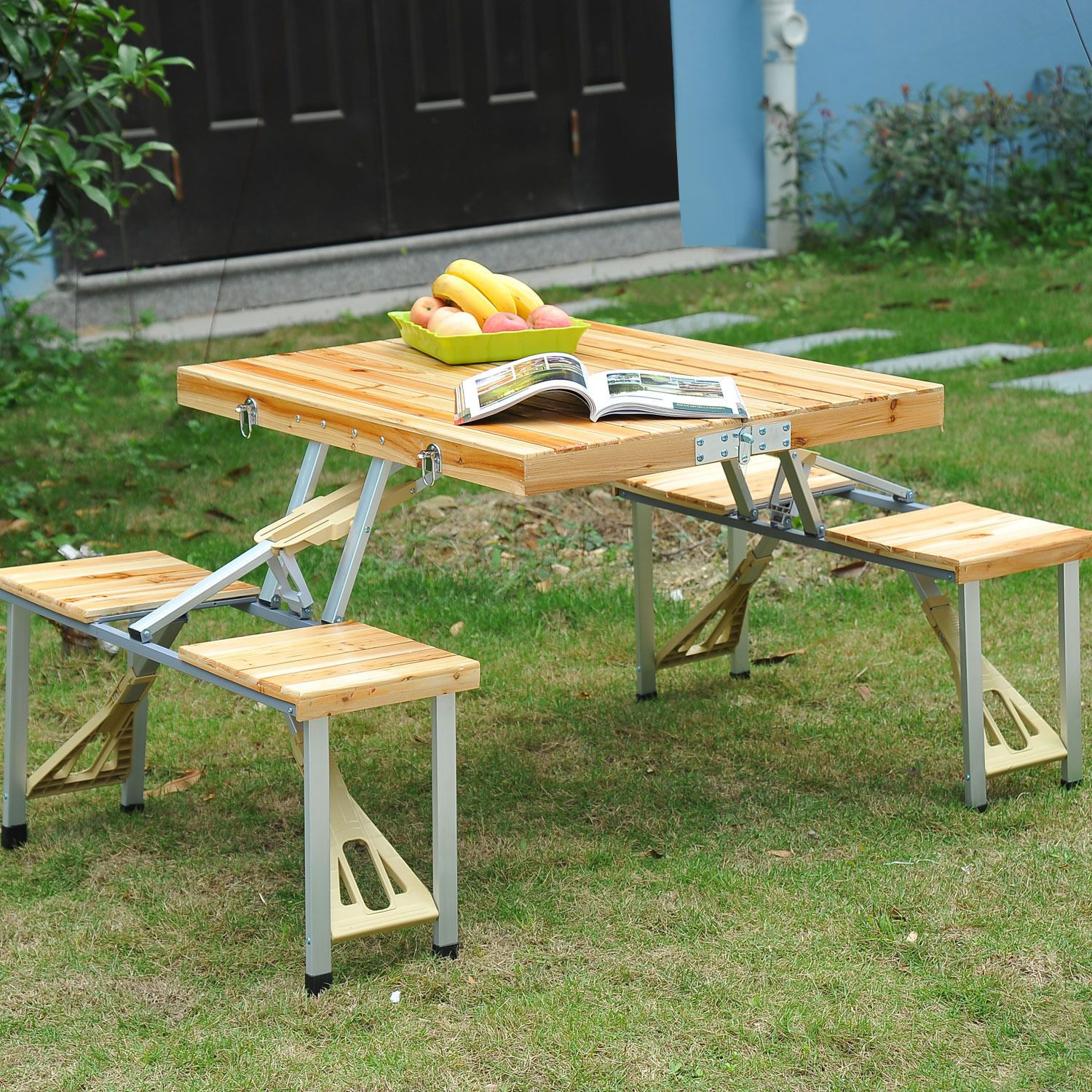 Details About Wooden Picnic Table Bench Seat Outdoor