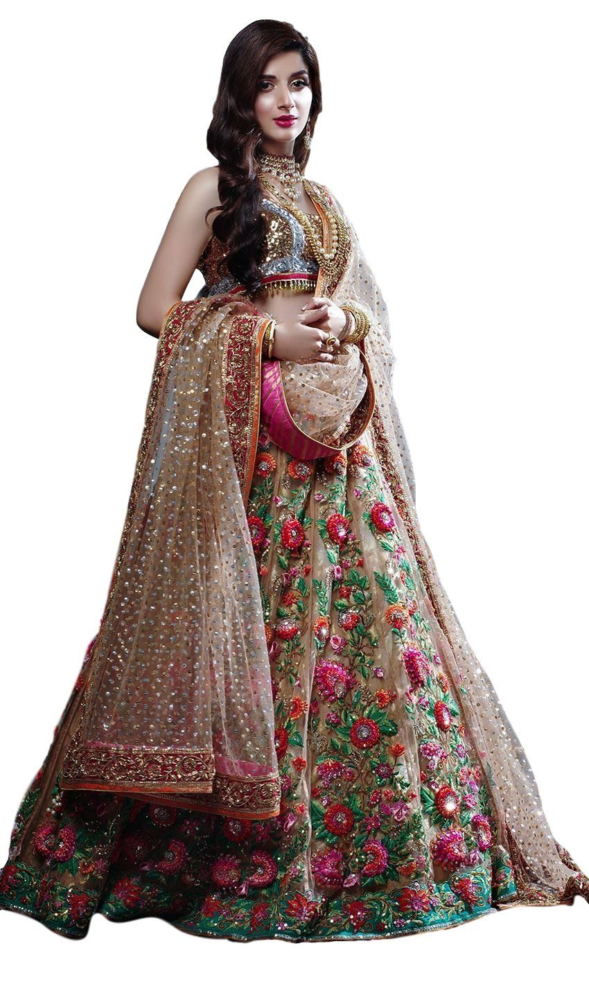 72afb90756 Champagne Color Wedding Lehenga with Floral Embroidery by Panache Haute  Couture
