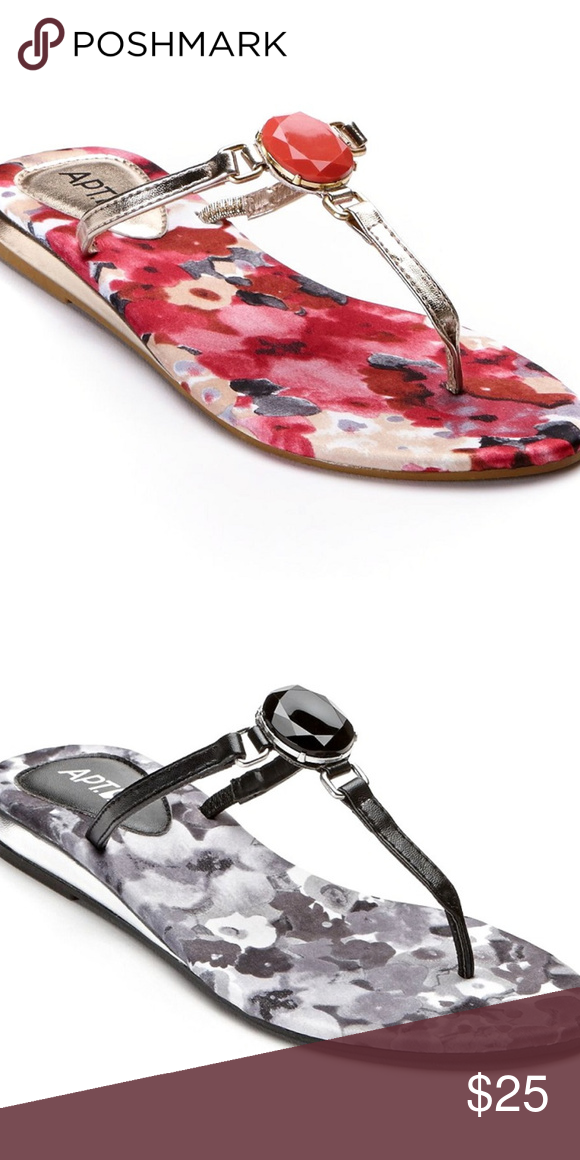 6718a179b9eb 9 Jeweled Floral Flip Flop Sandals New Tags Apt. 9 Black and Gray Floral  Pattern Flip Flop Sandals Jeweled Center Size Medium - (7-8) Bottom of  shoe  tip to ...