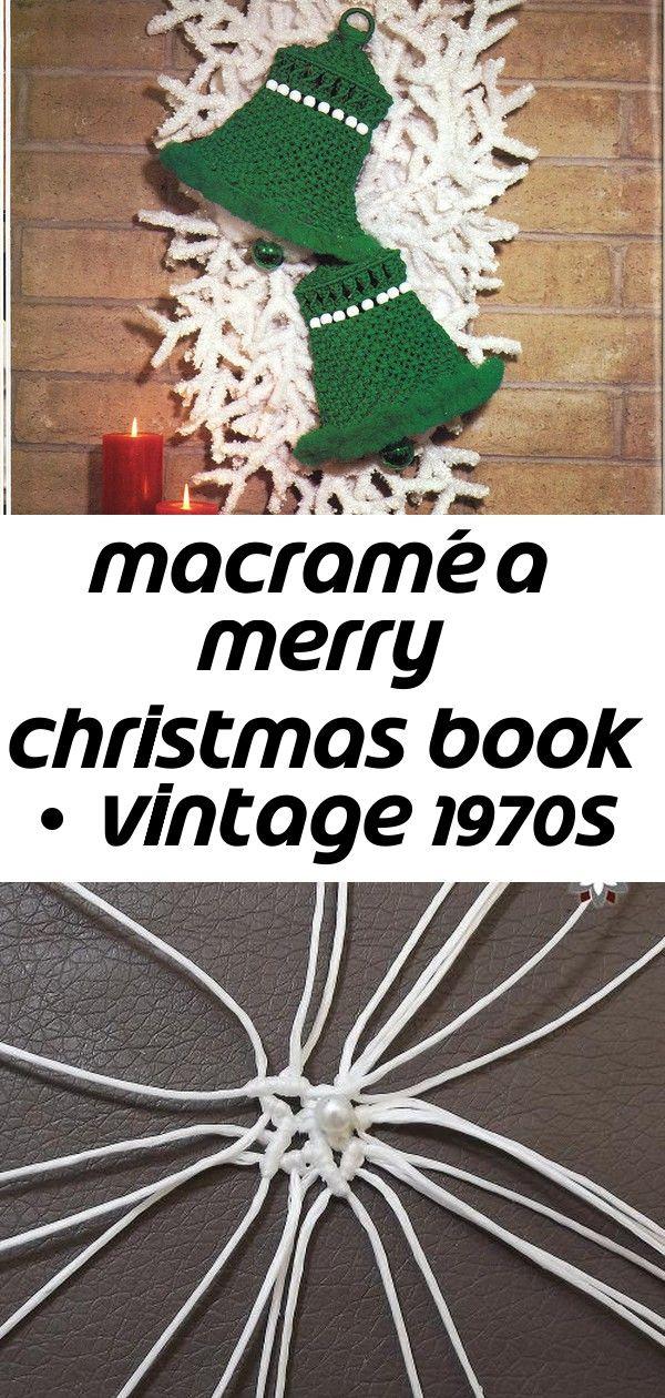 Macramé a merry christmas book • vintage 1970s easy macrame xmas pattern booklet 12 #hangersnowflake