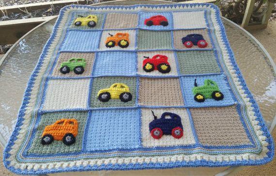 Crochet Baby Blanket Car Applique Blanket Tractor Applique Blanket