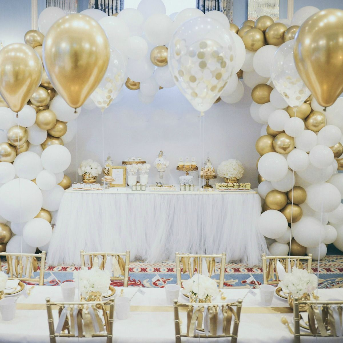 Stunning Confetti Diy Chrome Gold White Balloon Garland Kit