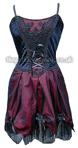 Black & Red Velvet & Silk Gothic Dress