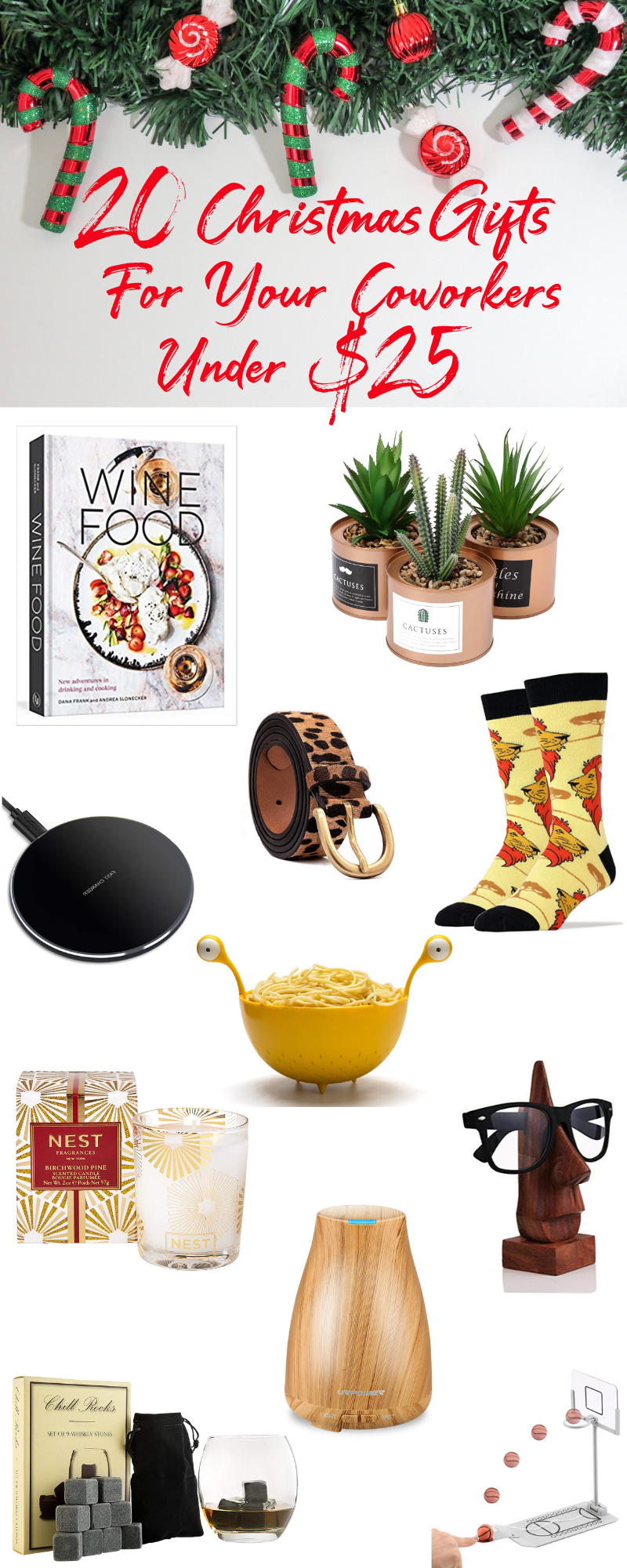 Looking for last-minute Christmas gift ideas for co-workers under $25? Whether you are looking for white elephant gift ideas or secret Santa gift ideas for your office Christmas party this gift guide will bring holiday cheer to all your co-workers. #christmasgiftideas #affordablechristmasgiftguide #christmasgiftideasforher #christmasgiftguideforhim #cheapchristmasgiftideas