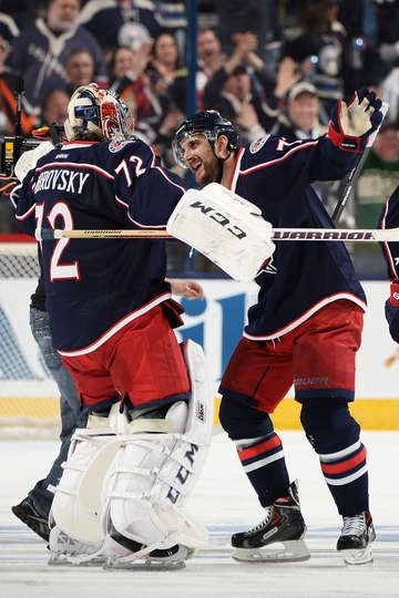 THE HUG!!!  Nick Foligno celebrates with Sergei Bobrovsky after Foligno scored the GWG in overtime to beat the Pittsburgh Penguins 4-3  in Game Four of the First Round of the Stanley Cup Playoffs on April 23 at Nationwide Arena. (Photo by Jamie Sabau/NHLI via Getty Images)