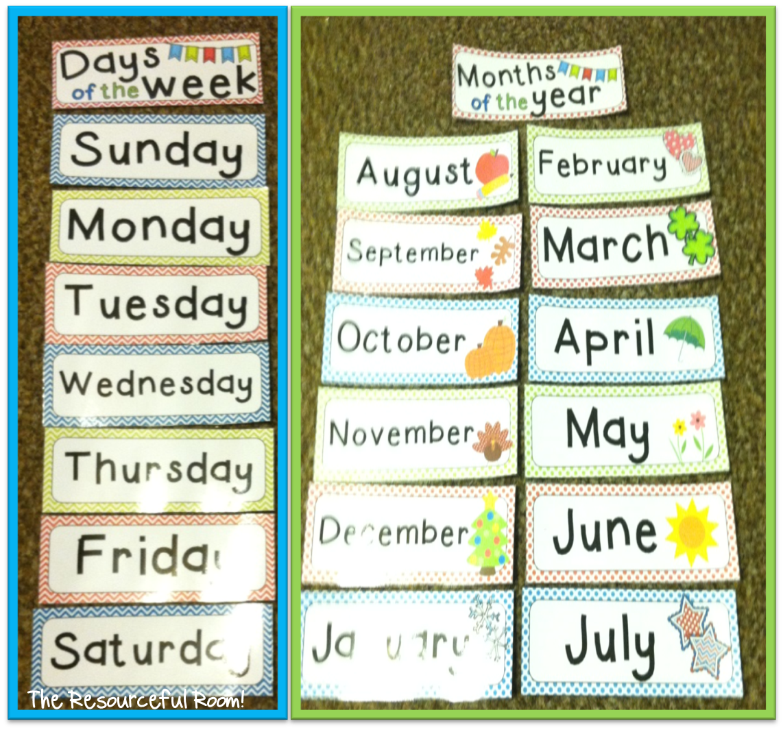 Days Of The Week And Months Of The Year Freebie