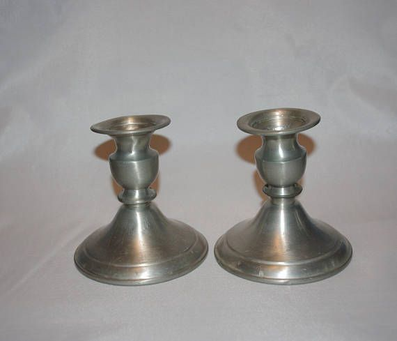 Spode Christmas Tree Candle Holder: 2 PEWTER CANDLEHOLDERS By Leonard In Bolivia