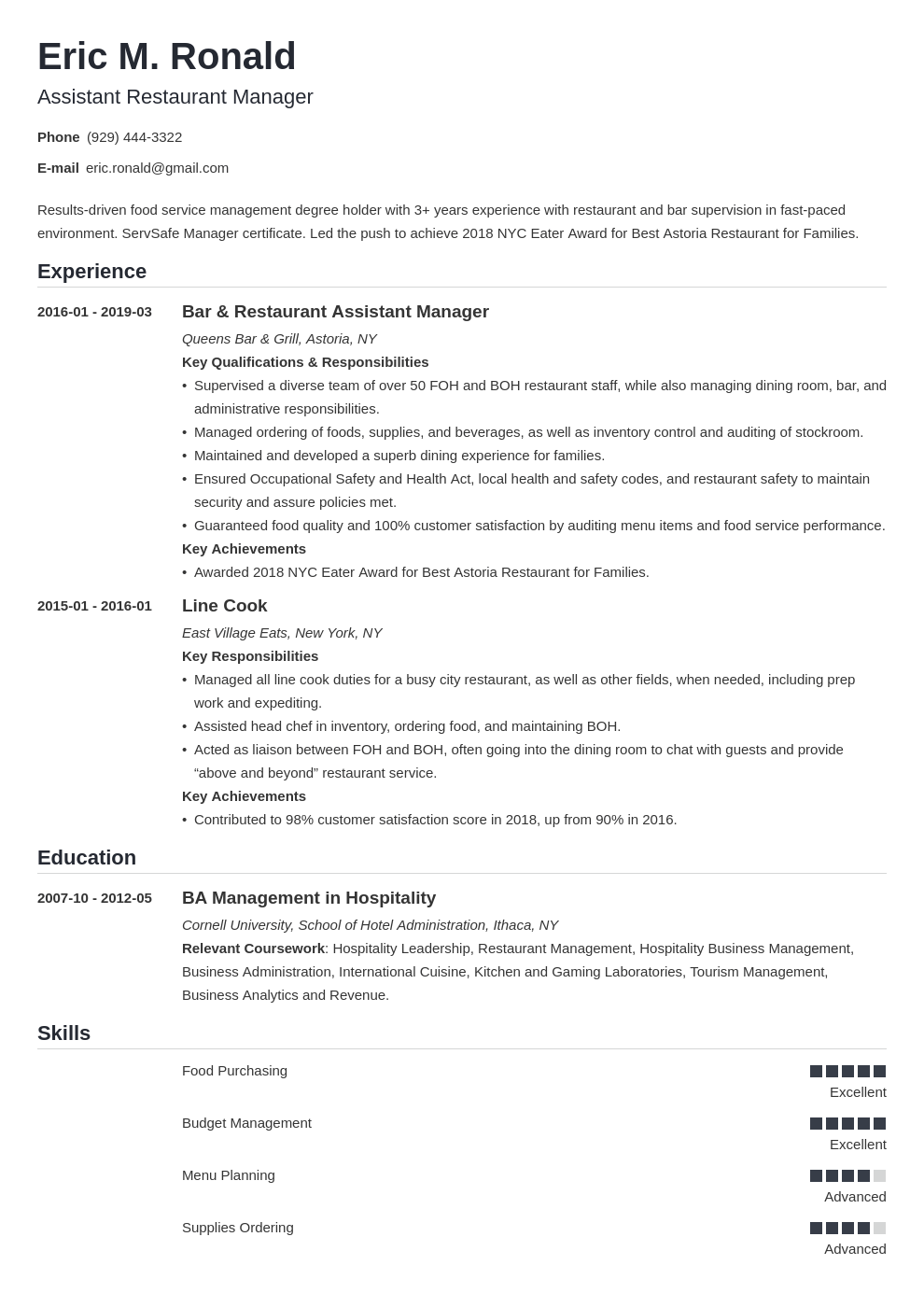 restaurant manager resume example template nanica in 2020