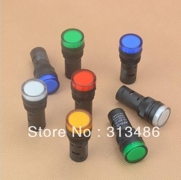 1pcs 16mm Signal Led Indicator Light Blue Green Red White Yellow Pilot Lamp 220v Light Blue Green Indicator Lights Blue Green