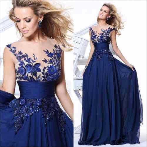 vestido largo azul chifon para graduacion fiesta boda | damas ...