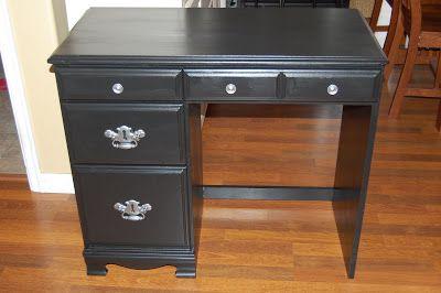 Renewed Spaces Little Black Desk Small Wood Desk Wooden Desk