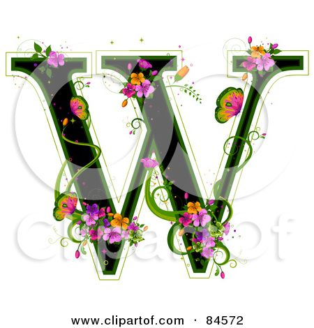 Black Capital Letter W Outlined In Green, With Colorful Flowers And Butterflies Posters, Art Prints