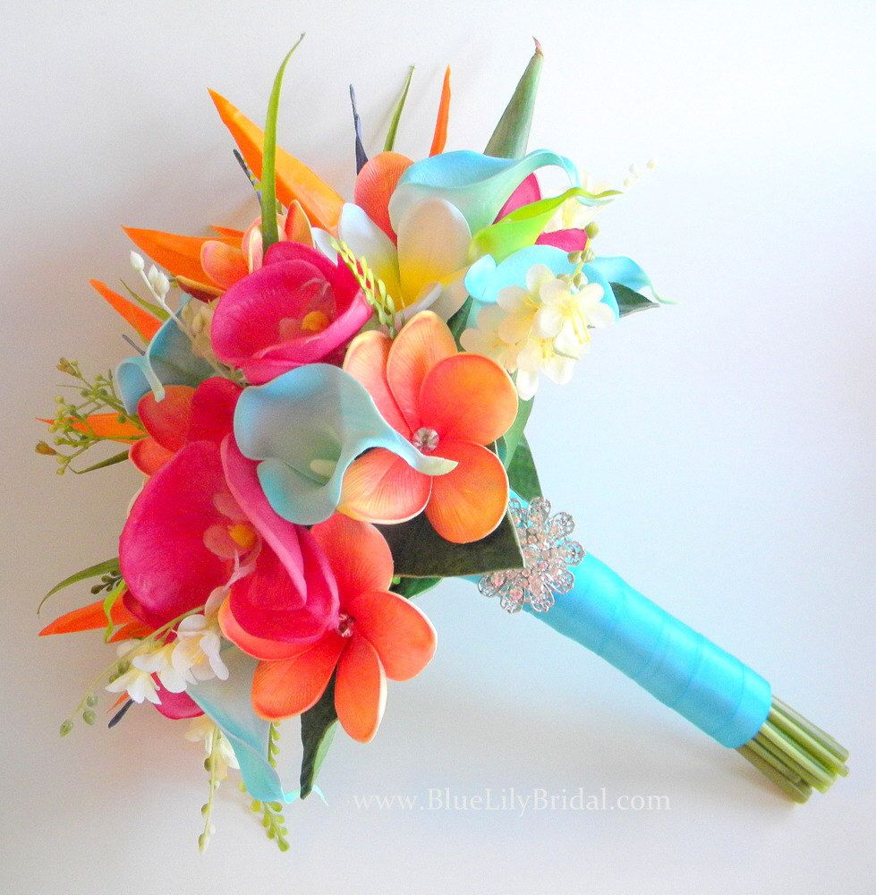 Tropical Garden Real Touch Beach Wedding Bridal Bouquet In Turquoise Fuchsia And Orange By Bluelilybridal