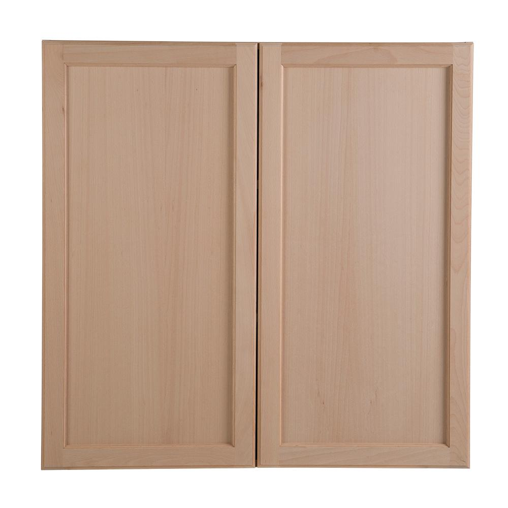 Hampton Bay Easthaven Shaker Assembled 36x36x12 In Frameless Wall Cabinet In Unfinished Beech Eh3636w Gb The Home Depot Unfinished Kitchen Cabinets Wall Cabinet Kitchen Cabinets Home Depot