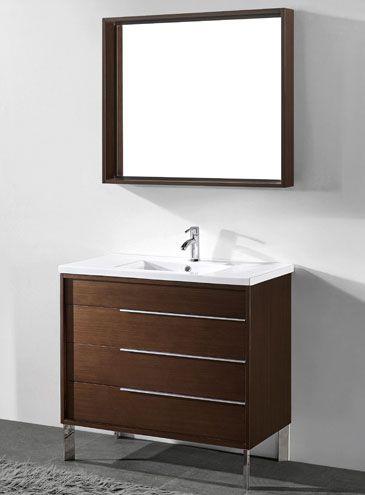 Milano 36 Inch Modern Walnut Bathroom Vanities Bathroom Vanity Modern White Bathroom White Vanity Bathroom