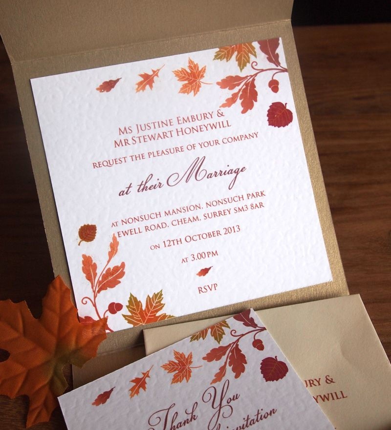 Autumn Wedding Invitation   Inside The Pocket