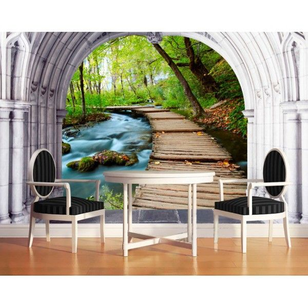papier peint 3d paysage petit pont sur la rivi re papier peint 3d paysage pinterest d 3d. Black Bedroom Furniture Sets. Home Design Ideas