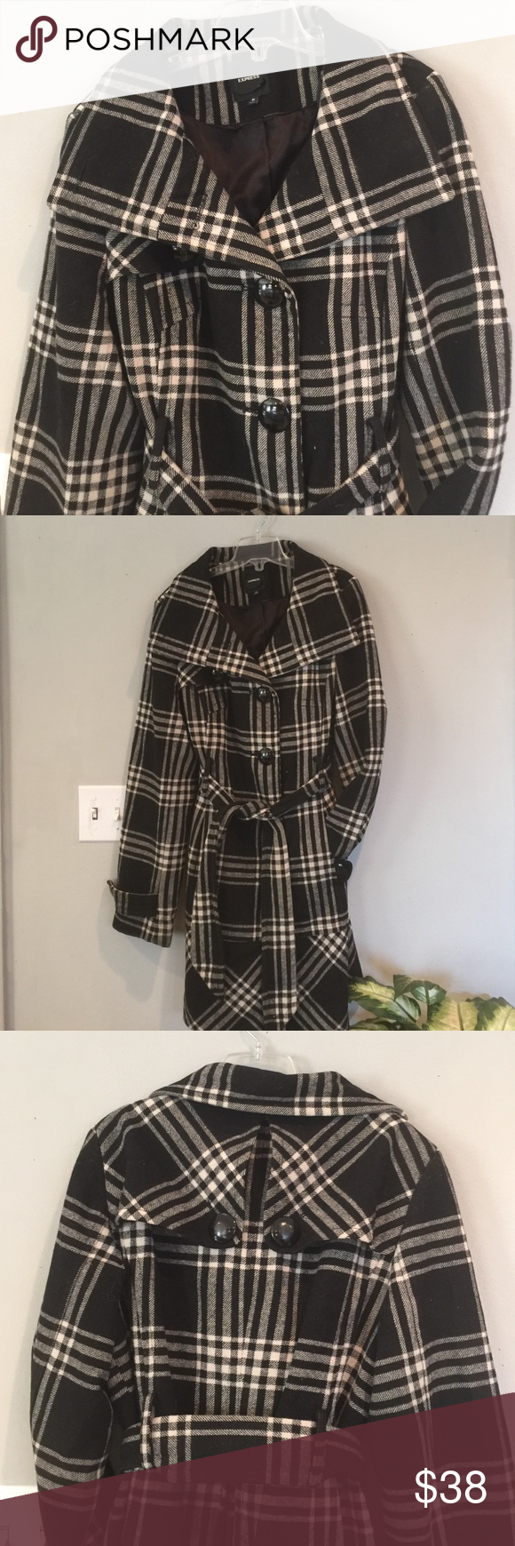 EXPRESS Wool Coat sz Medium Very good condition, Belted Waist, fully lined Express Jackets & Coats Trench Coats