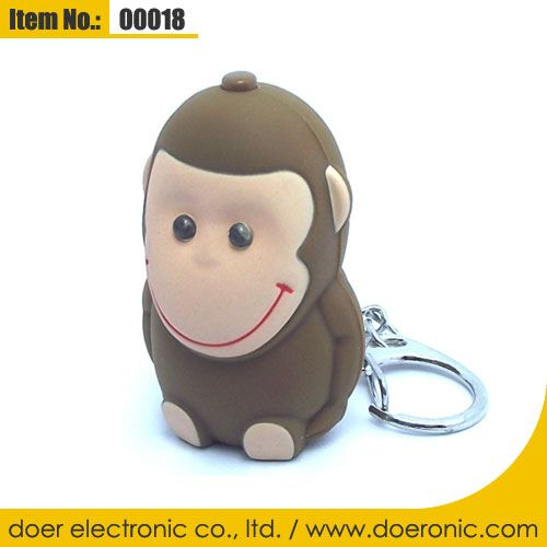 Novelty Cartoon Monkey LED Sound Keychain Torch | Doer Electronic the Animals Novelty Gadgets Supplier from China, Welcome to the World of Animals Fun.