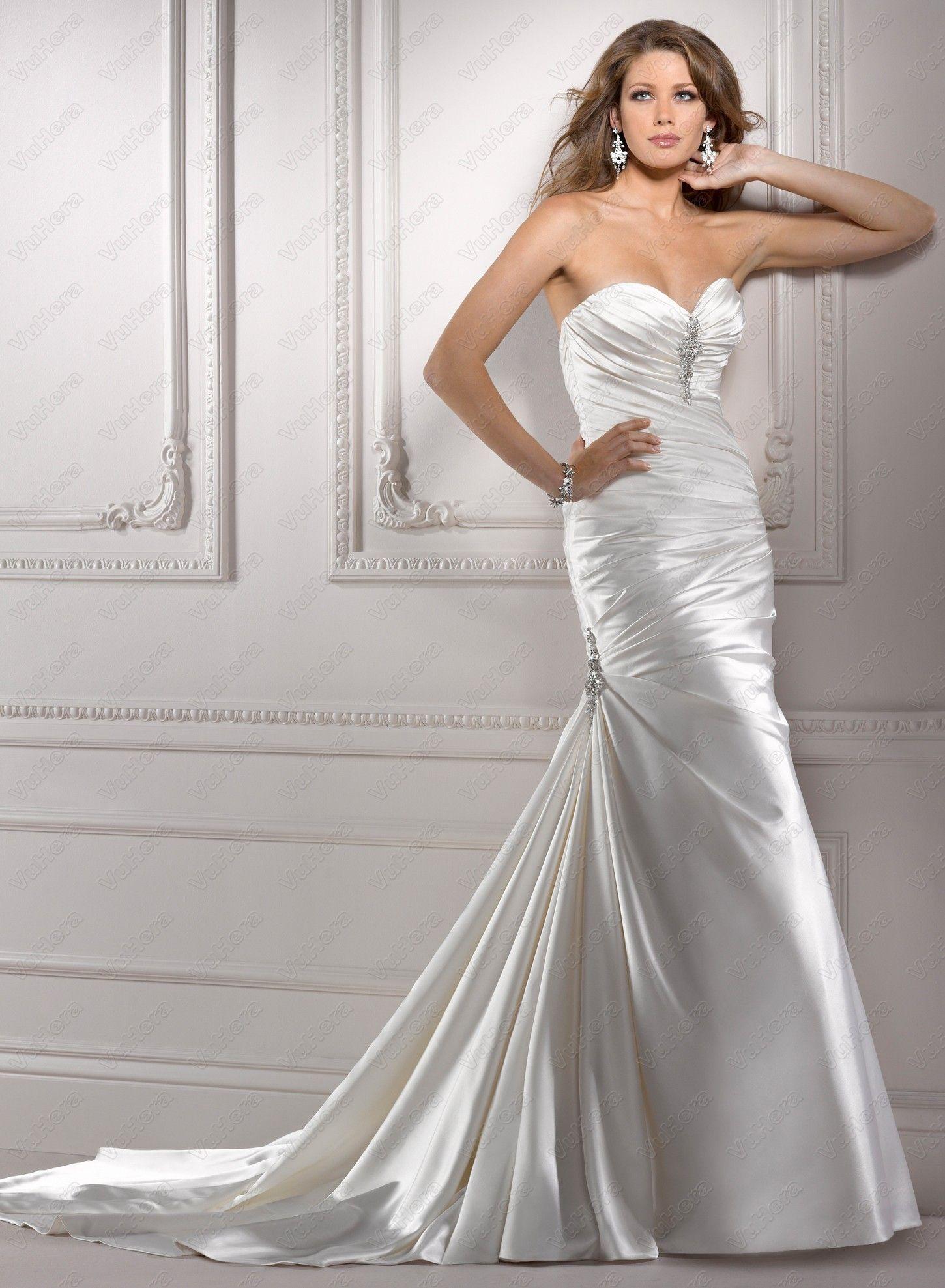 Stretch Satin Sweetheart Neckline Fit And Flare Sheath Wedding Dress