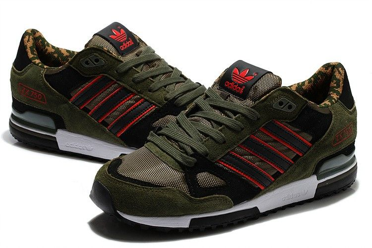 cozy fresh f77b9 c86e7 Men s Adidas ZX 750 Camouflage Army Green Black Red White Casual Shoes  (C33yyC)