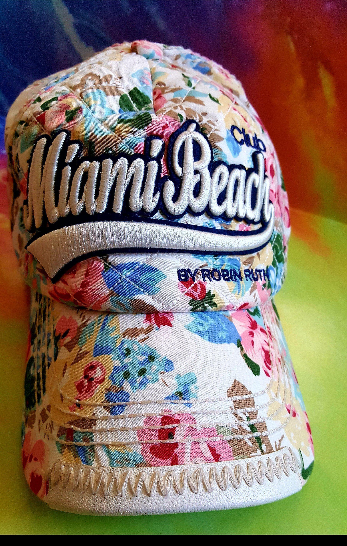 d46600468c5 ROBIN RUTH Miami Beach Hat Cap Baseball Cap Pretty Floral Adjustable  Snapback One Size Fits Most