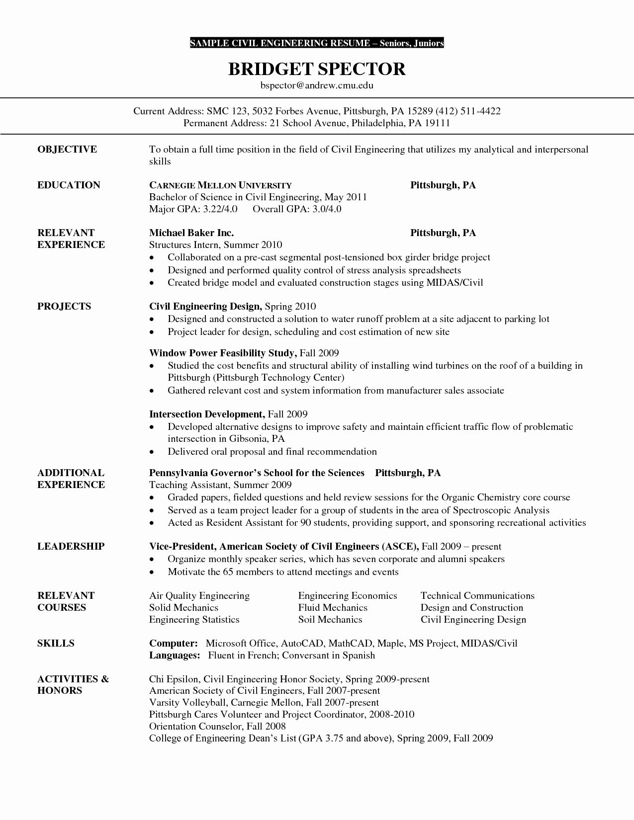 20 Civil Engineering Intern Resume In 2020 Internship Resume