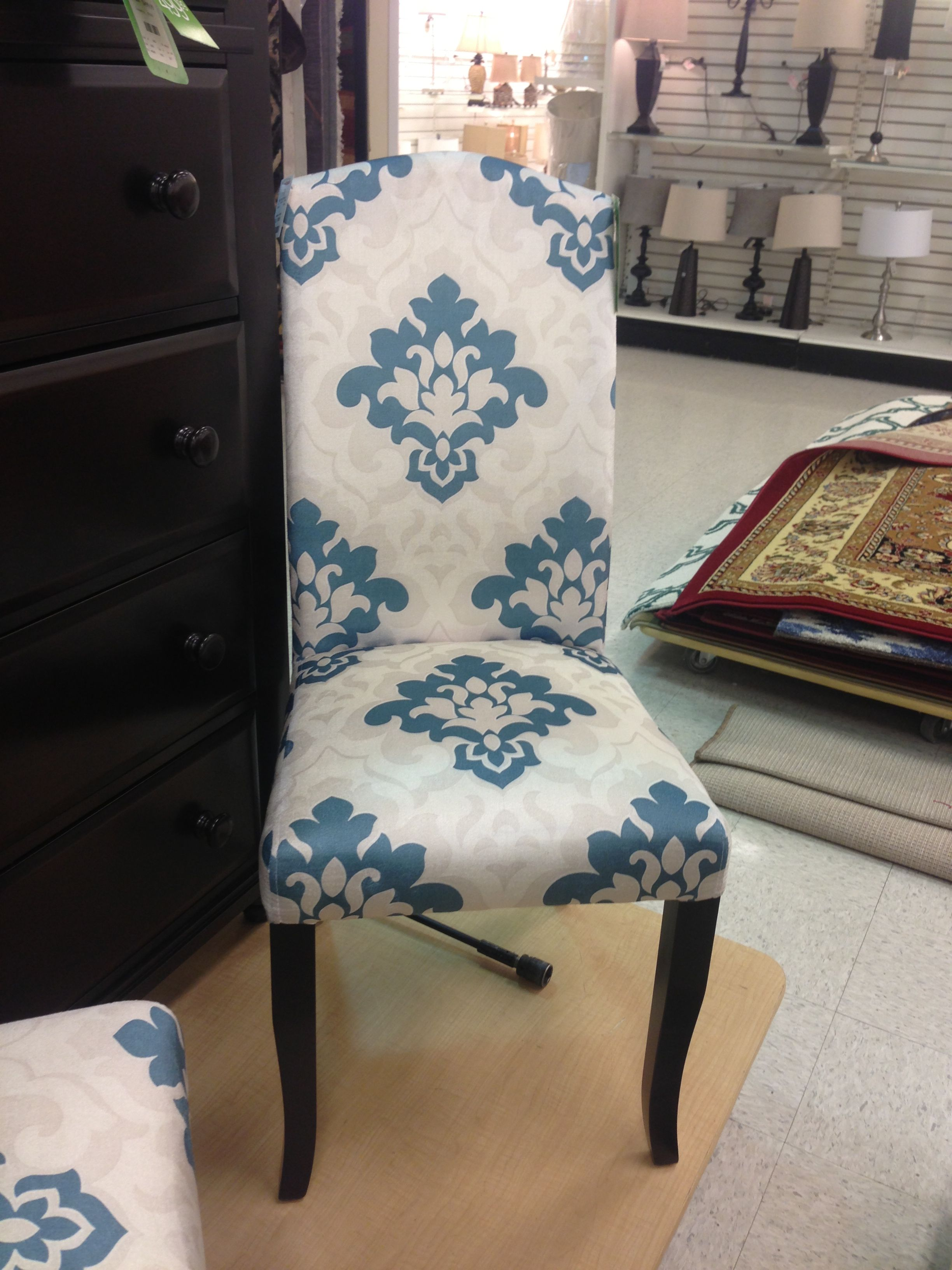 Blue Parsons Chair White And Blue Damask Parsons Chair Cynthia Rowley Accent