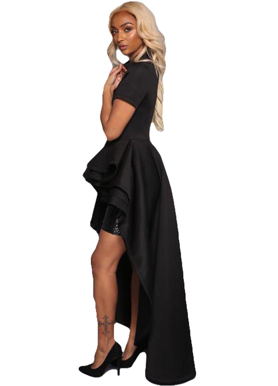 828abb50356 Short Sleeve Runway High Low Peplum Top Dress Peplum Dress Dresses Sexy  Lingeire