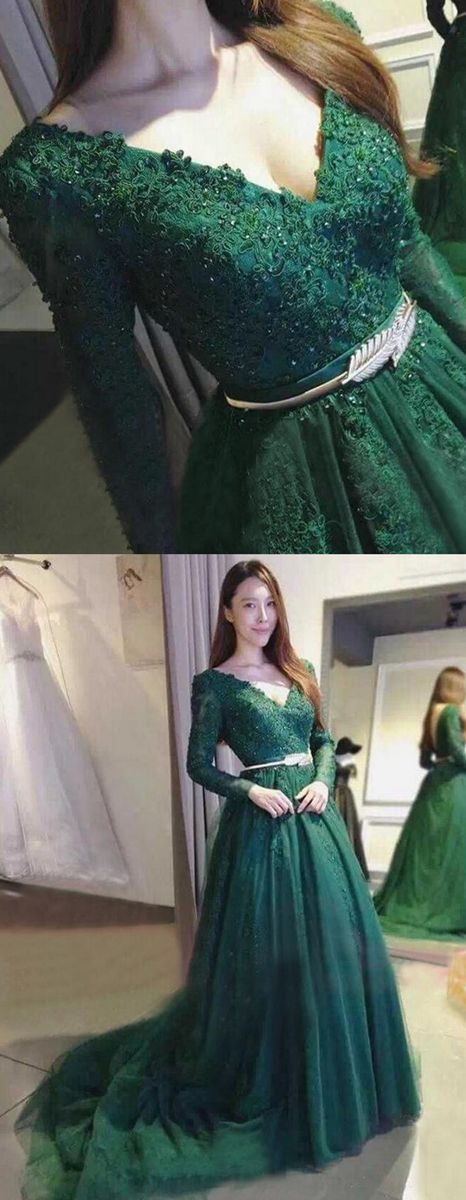 A-Line V-Neck Backless Long Sleeves Dark Green Prom Dress with Belt ...