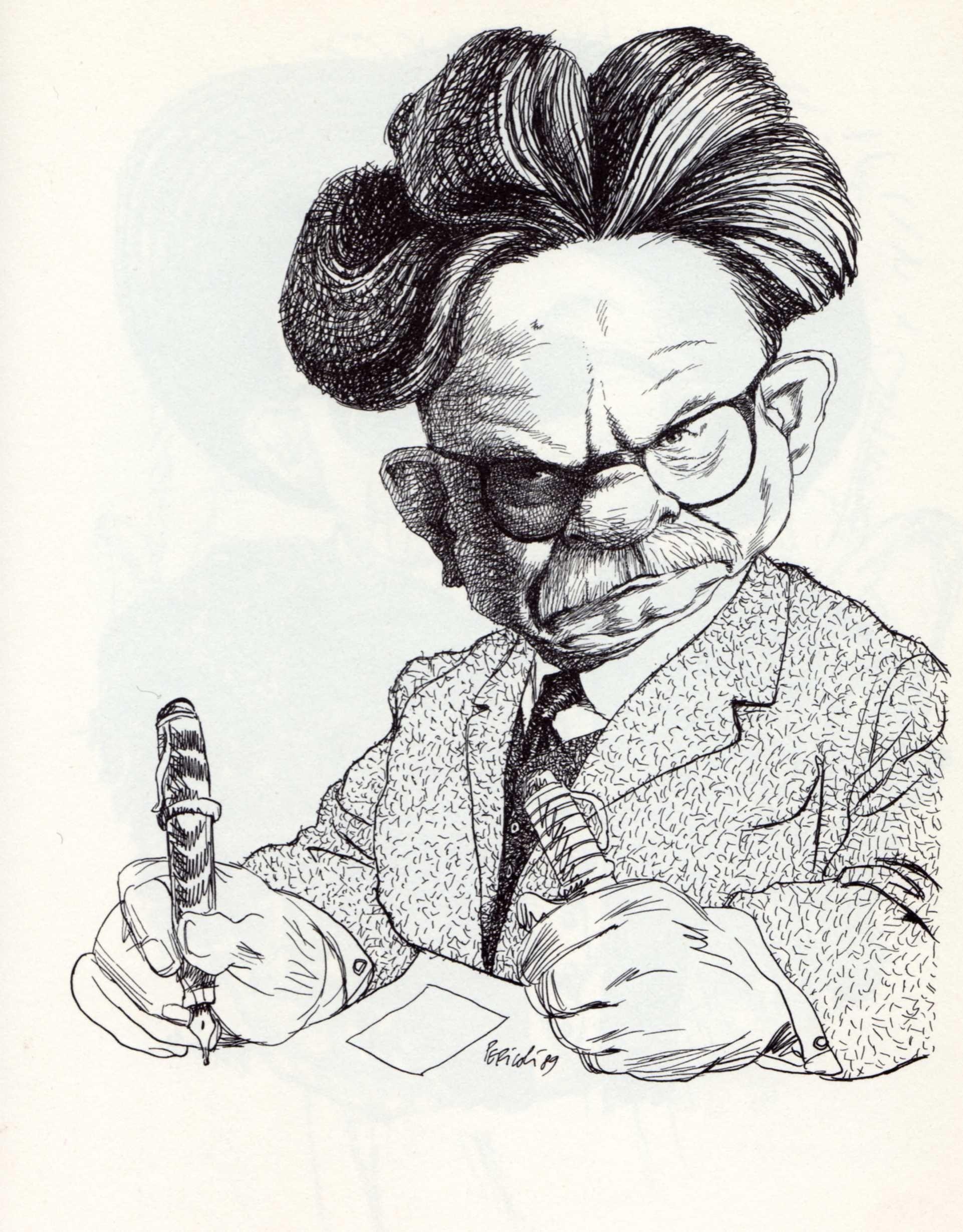 Elias Canetti Philosophy Caricature Portrait Art Portrait Artist