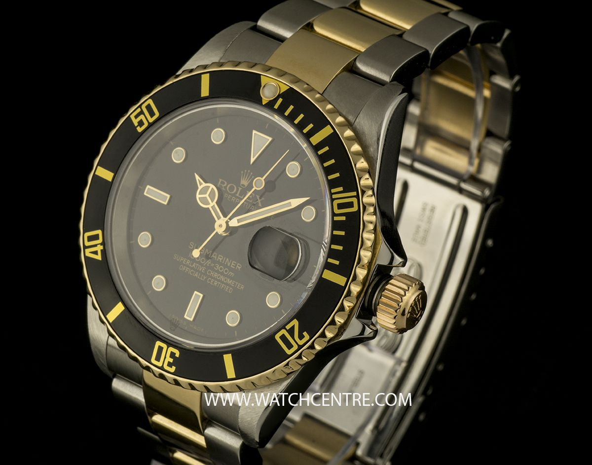 91d13fbe46a Rolex Steel   Gold Black Dial Oyster Perpetual Submariner Date 16613. Our  Price  £5