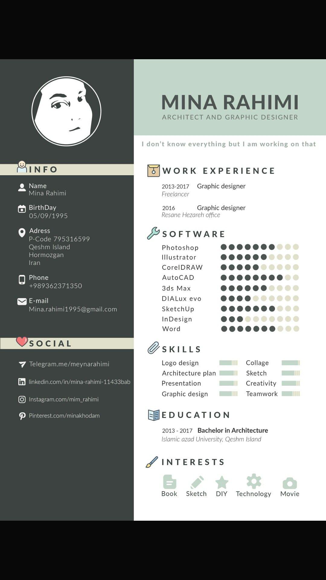 cv resume architecture art graphic design work