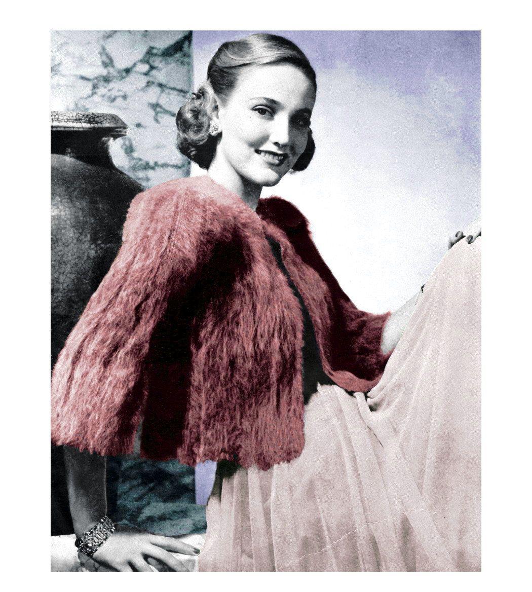 1930\'s Angora Swing Jacket Chubby Evening Coat Vintage Vogue ...
