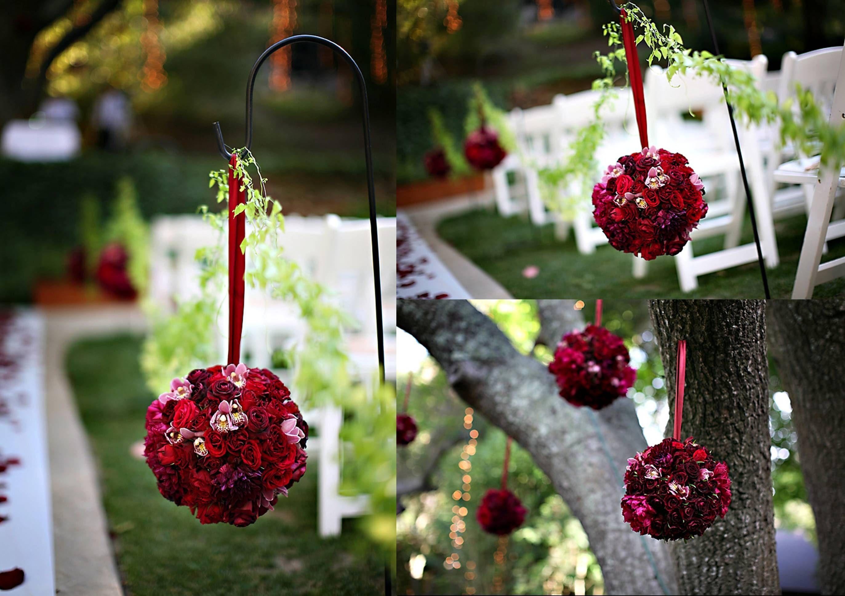 Red Rose Pomander Kissing Rose Balls On Shepherd Hooks Wedding Isle Decoration Hanging Flower Balls Pomander Wedding Flower Ball Red Purple Wedding