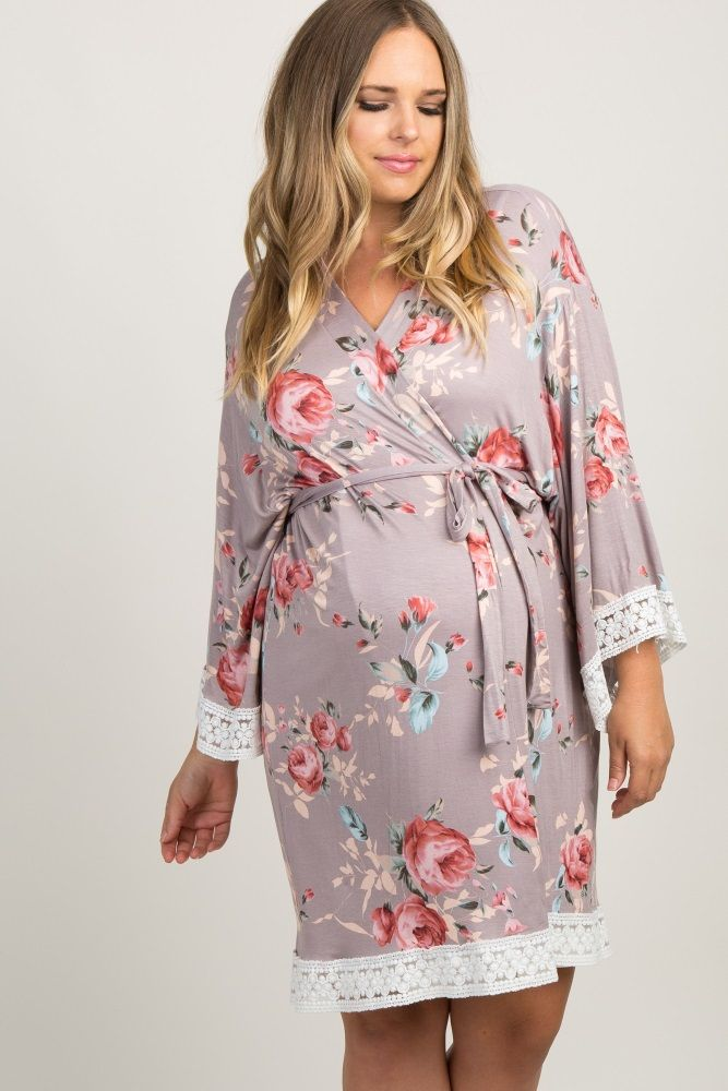 95eb5334e2c Grey Rose Floral Lace Trim Delivery Nursing Plus Maternity Robe