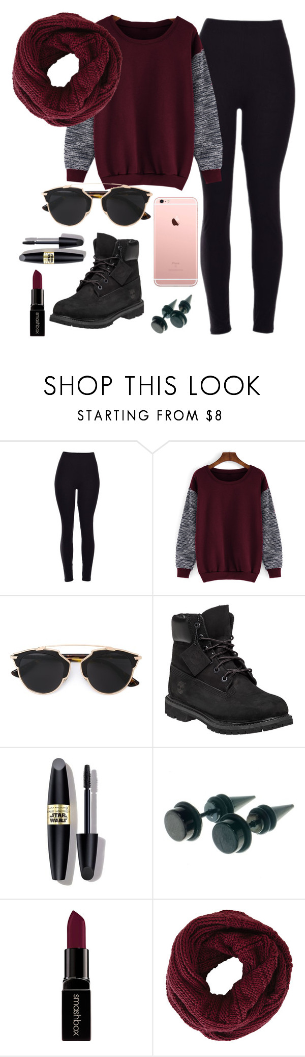 """""""dark"""" by jordangirl2313 ❤ liked on Polyvore featuring Christian Dior, Timberland, Max Factor, Smashbox, BCBGMAXAZRIA, women's clothing, women's fashion, women, female and woman"""