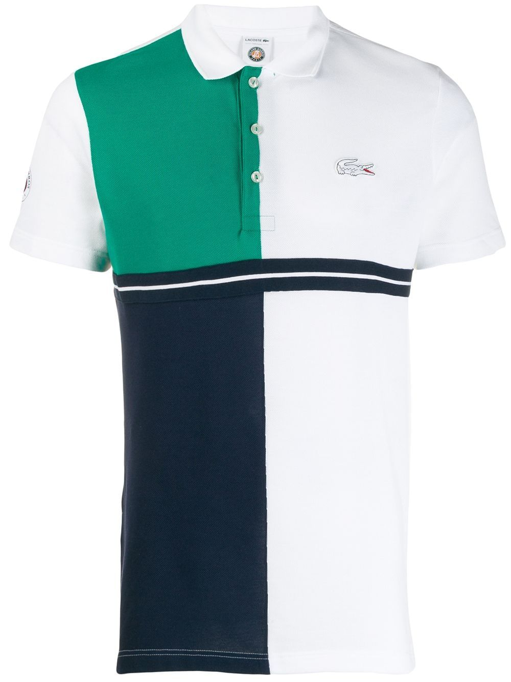 White and blue cotton polo shirt from Lacoste featuring a classic polo collar, contrasting panels, short sleeves and a relaxed fit.