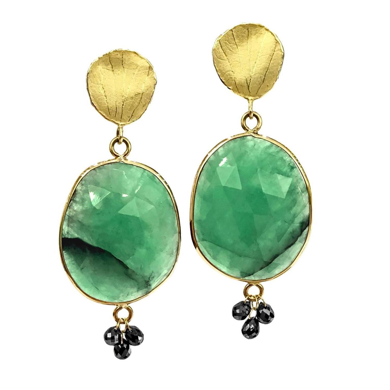 Barbara Heinrich Faceted Green Emerald Black Diamond Briolette