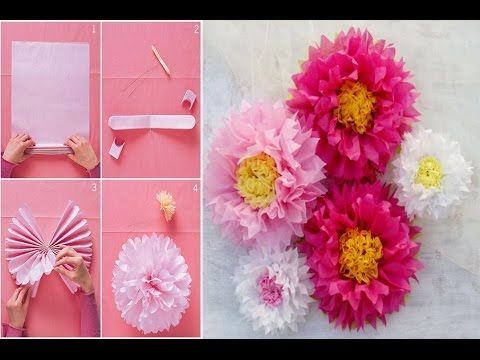 How to make a giant tissue paper flower very easily wall art how to make a giant tissue paper flower very easily wall art room decor diy paper pom tutorial youtube mightylinksfo