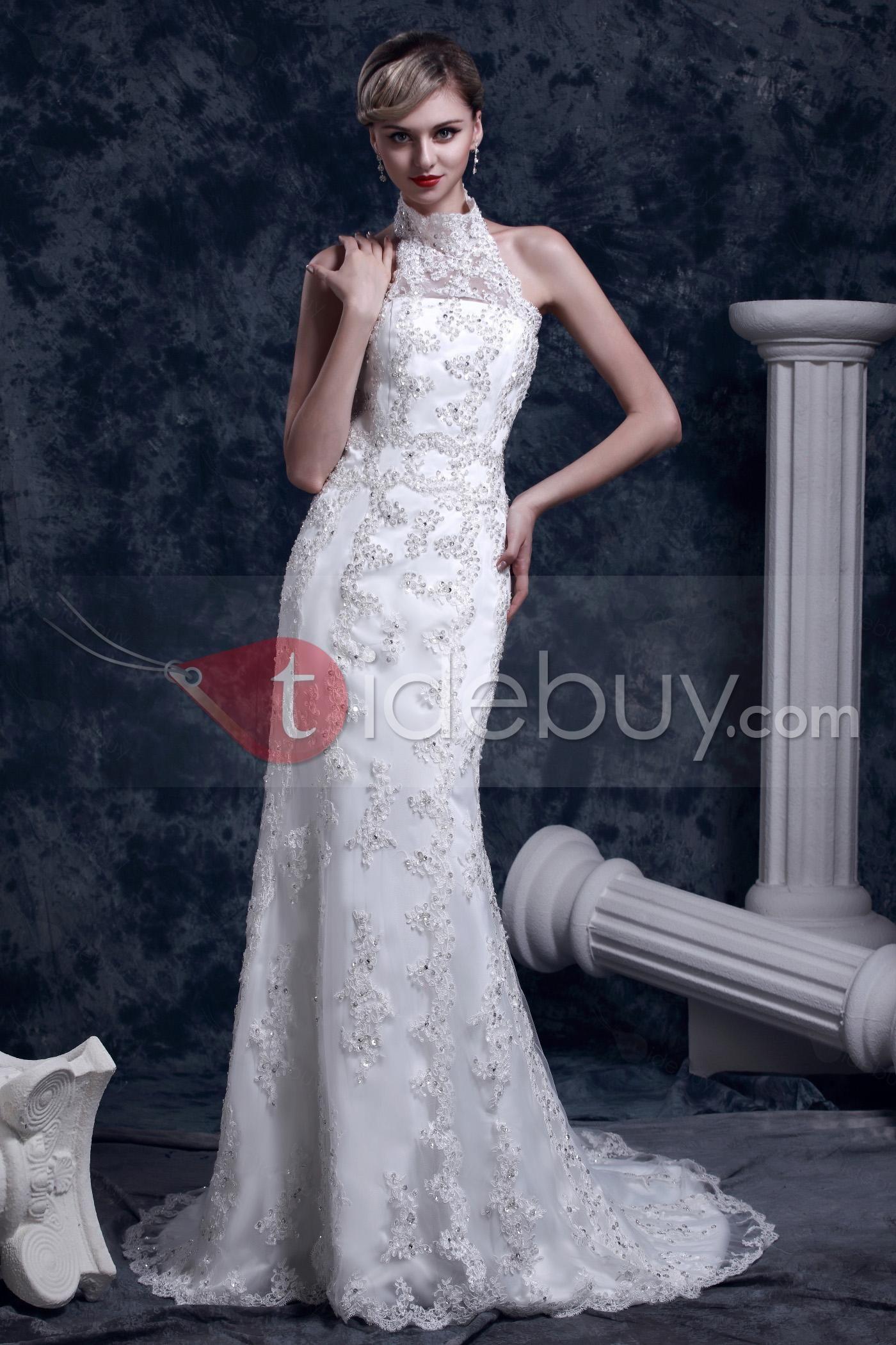 Gorgeous lace trumpetmermaid highneck chapel dashaus wedding dress